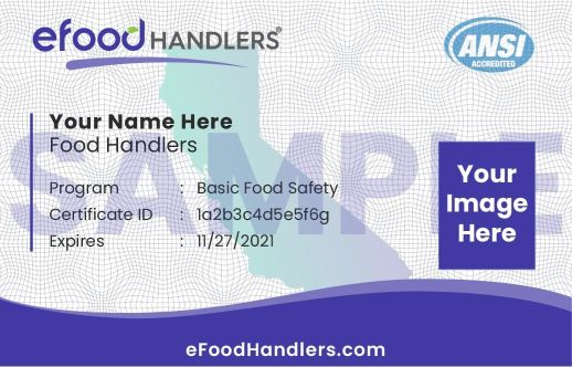Sample Food Handlers Card